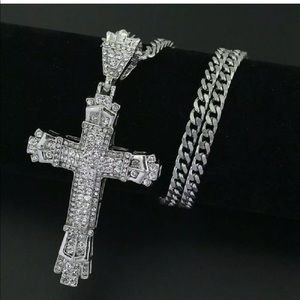 Mens silver rhinestone big cross necklace
